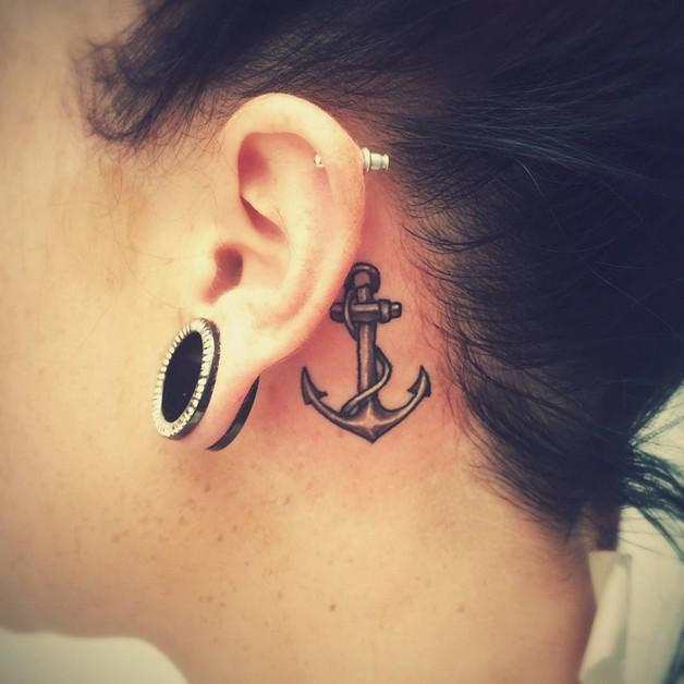 Small Diamond Tattoo Behind Ear photo - 1