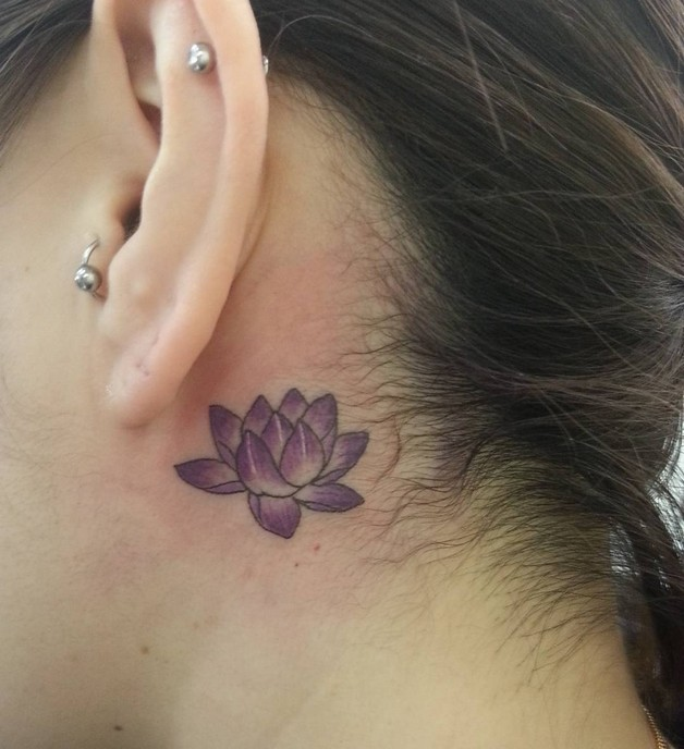 Small Flower Tattoo Behind Ear photo - 1