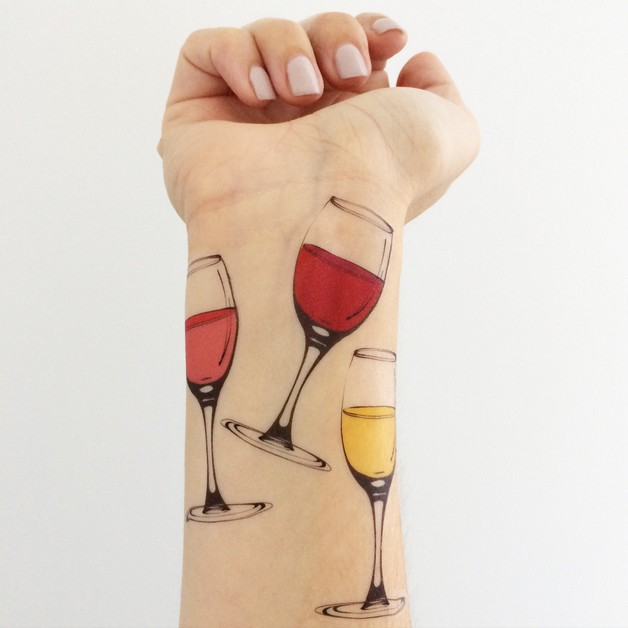 Small Glass Of Wine Tattoo photo - 1