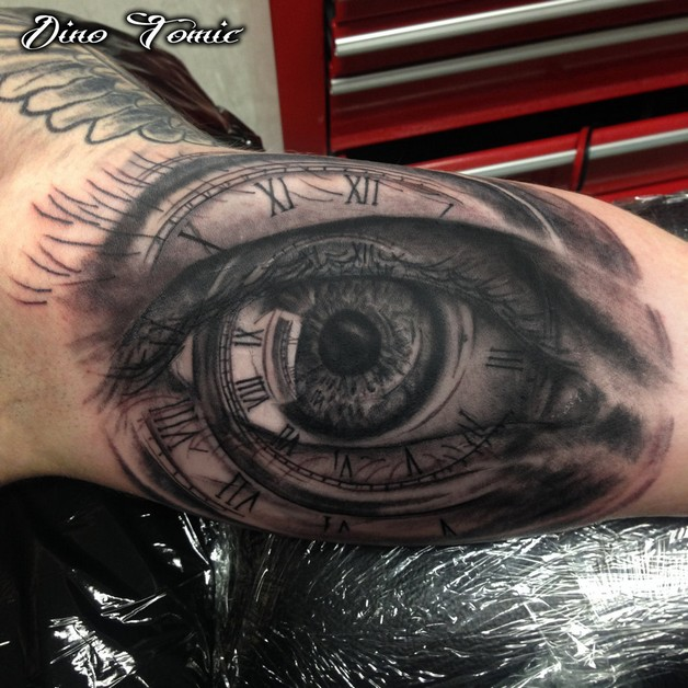 Snail Rose And Eye Hour Glass Tattoos photo - 1