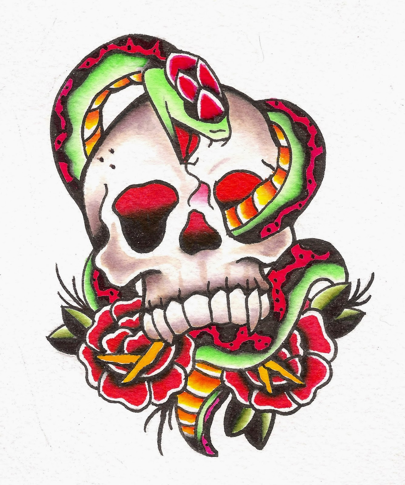 Snake Rose n Dagger Tattoo Design photo - 1