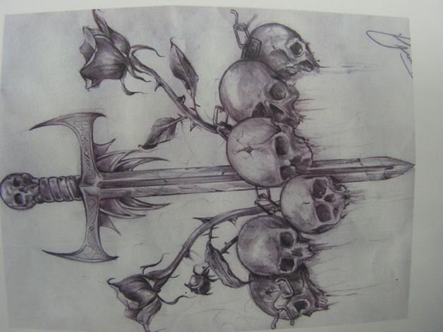 Snake Skull n Dagger Tattoo Design photo - 1