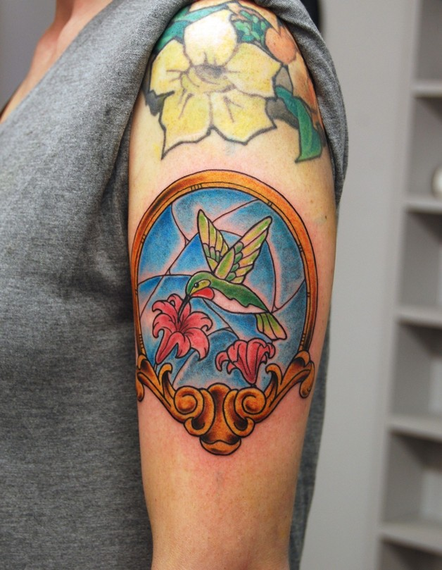 Stained Glass Tattoo On Shoulder photo - 1