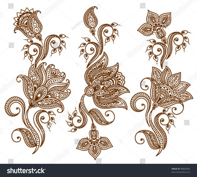 Stock Vector Illustration Set Of Floral Tattoo Designs photo - 1