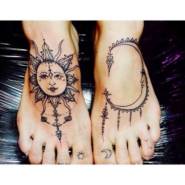 Sun And Yin Yang Tattoo On Leg photo - 1