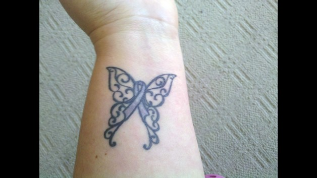 The Latest Butterfly Cancer Ribbon Tattoo photo - 1