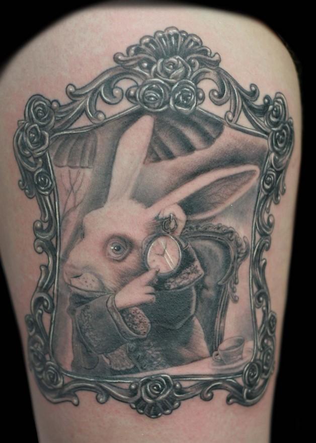 The Latest White Rabbit Tattoo Design photo - 1