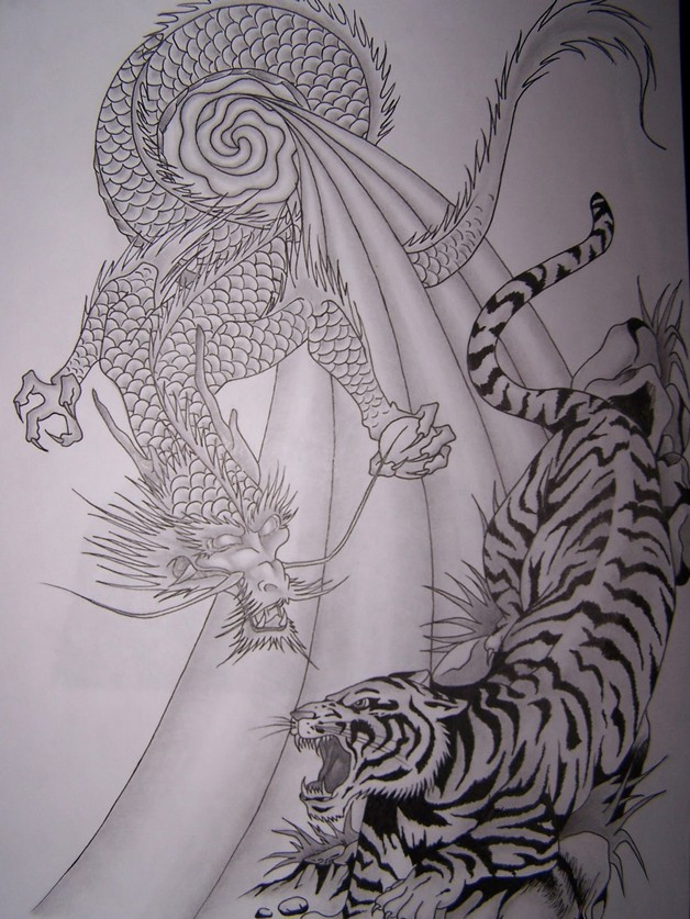 Tiger And Dragon Fight Backpiece Tattoos photo - 1