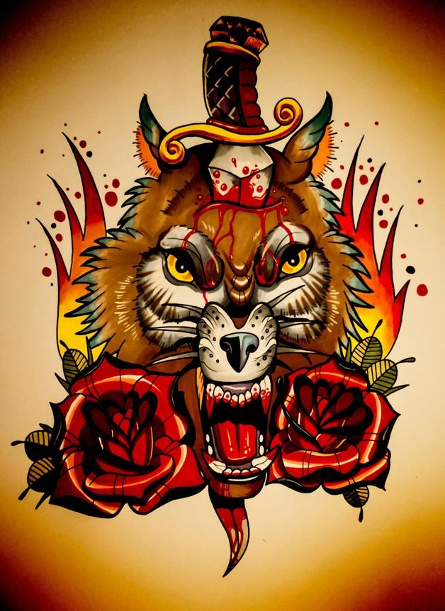 Tiger Head Dagger Tattoo Design photo - 1