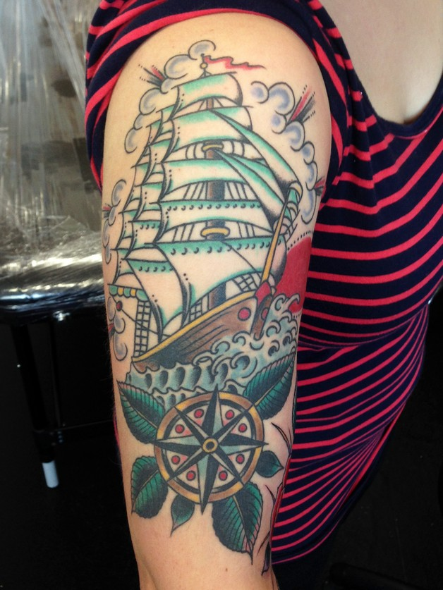 Traditional Bottle And Nautical Compass Tattoos