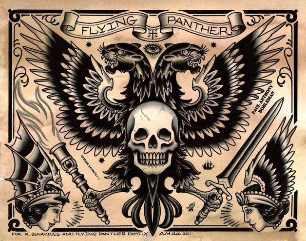 Traditional Eagle n Eye Tattoo Design photo - 1