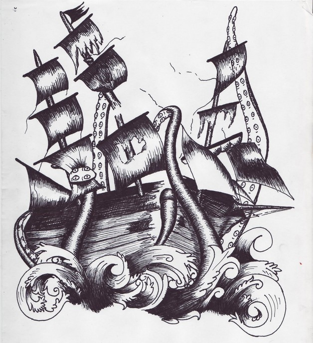 Traditional Pirate Ship Octopus Tattoo photo - 1