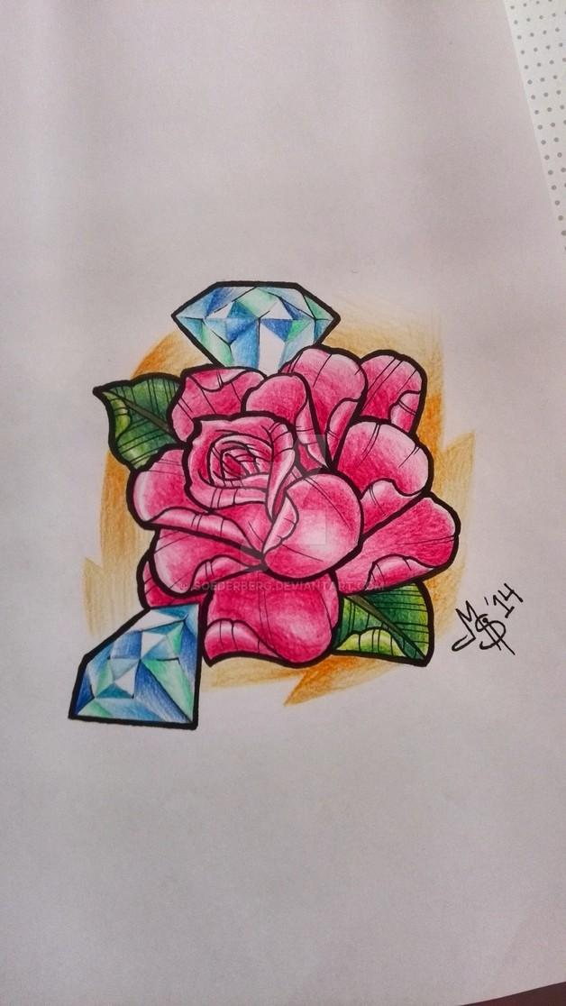 Traditional Rose n Diamond Tattoo Design