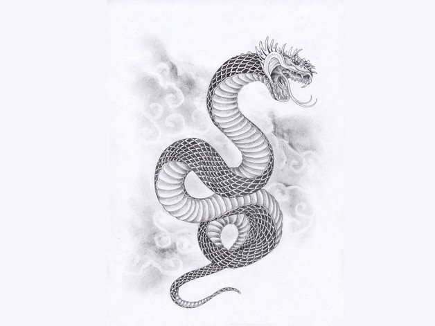 Tremendous Asian Snake Tattoo Design photo - 1