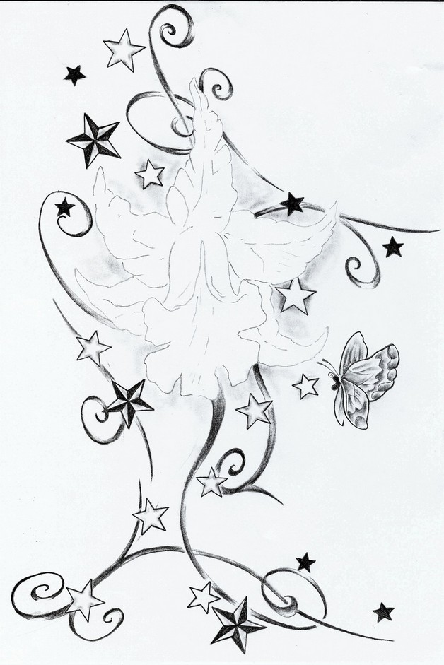 Tribal Flower n Star Tattoo Designs photo - 1