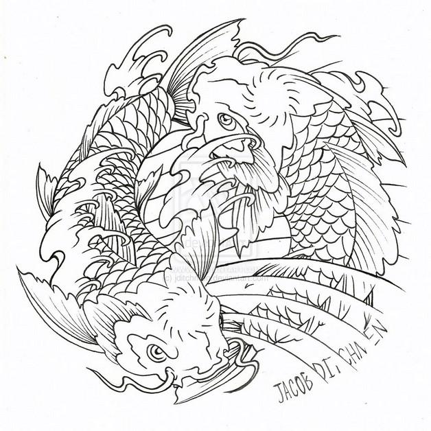 Tribal Koi Fish Yin Yang Tattoo Sample photo - 1