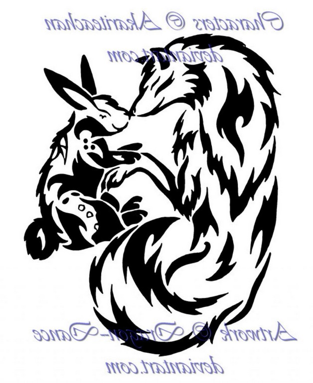 Tribal Wolf And Rabbit Tattoo Designs photo - 1
