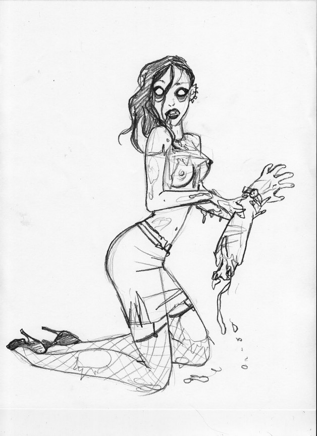 Trick Or Treat Zombie Pin Up Girl Tattoo Stencil photo - 1