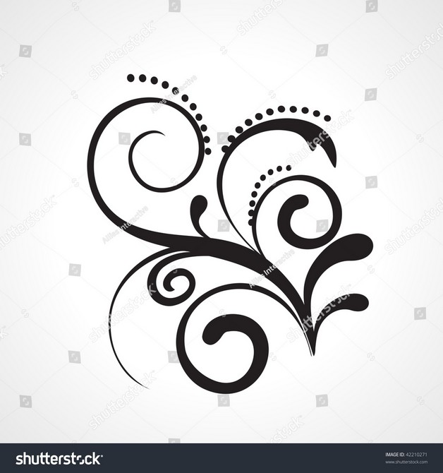 Vector Black Floral Tattoo On White Background photo - 1