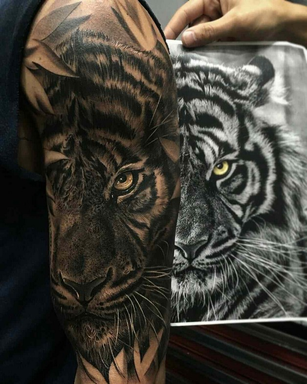 610006c0422e8 White Forest Tiger Tattoo