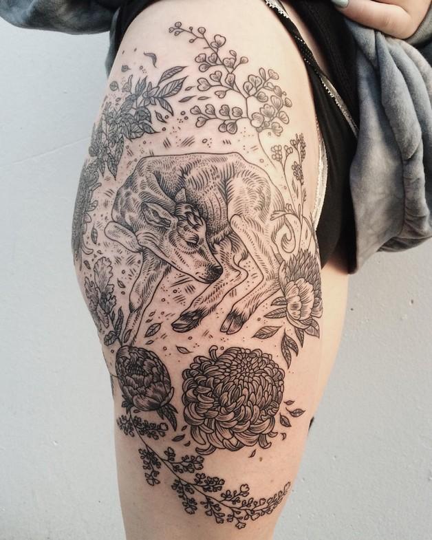 White Rabbit Frame Tattoo On Back Shoulder For Women photo - 1