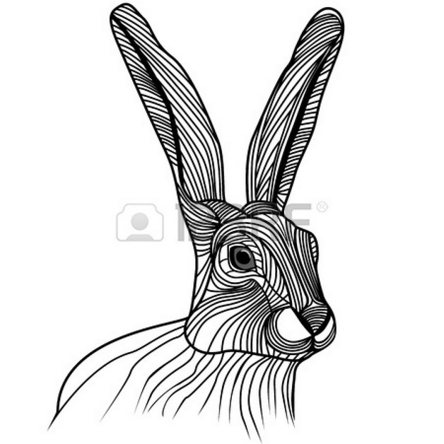 White Rabbit Tattoo Sketch photo - 1