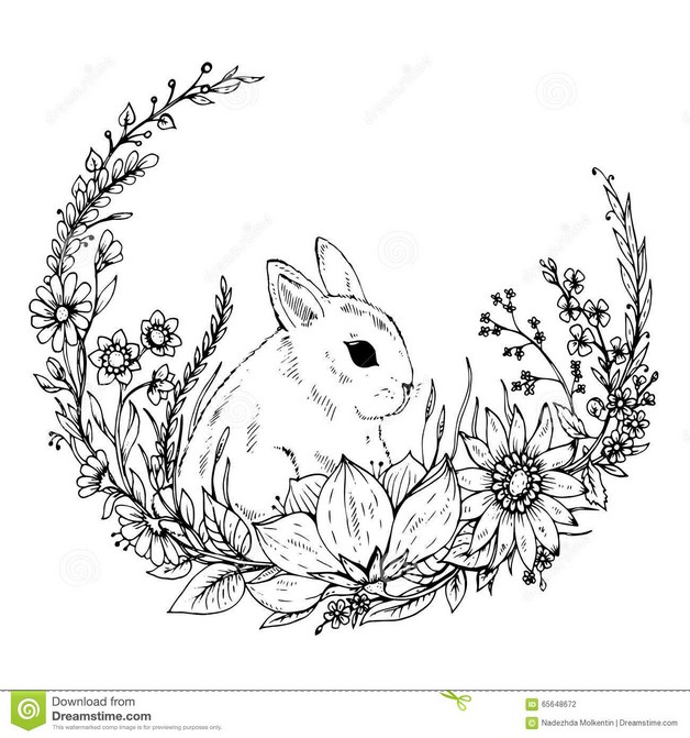 White Standing Rabbit Tattoo photo - 1