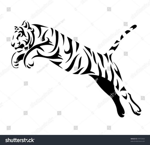White Tiger Tribal Tattoo Design photo - 1