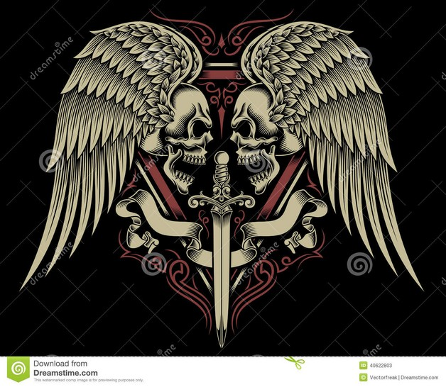 Winged Mexican Skull Tattoo Graphic photo - 1