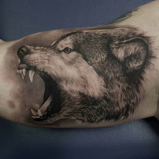 Wolf Face Tattoo On Biceps photo - 1