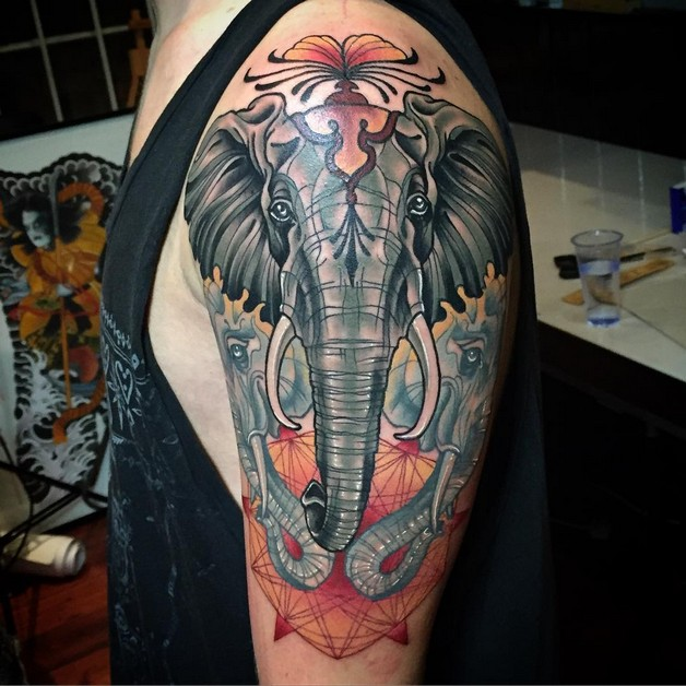 Wonderful Half Sleeve Asian Tattoo Design photo - 1