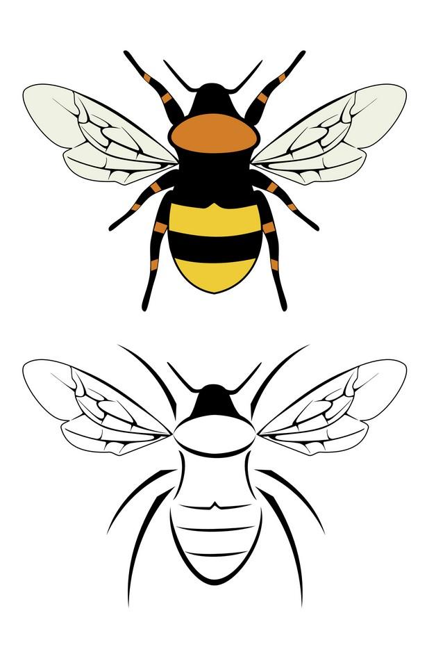 Yellow Queen Bee Tattoo Design