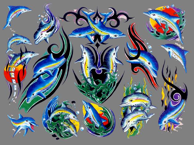 yin yang dolphin tattoo flash
