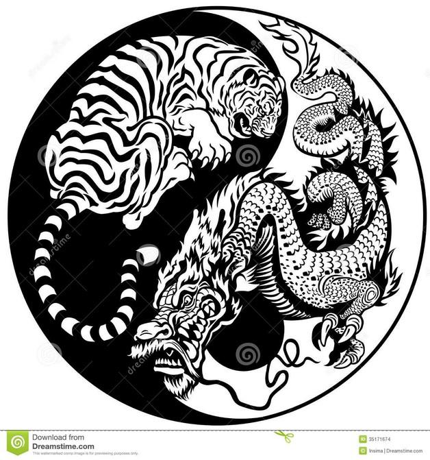 Yin Yang Tiger And Dragon Tattoo Design photo - 1