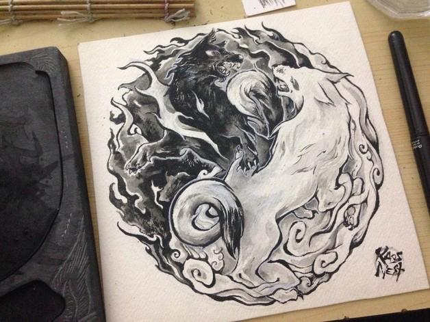 Yin Yang Tiger And Wolf Tribal Tattoo Design photo - 1