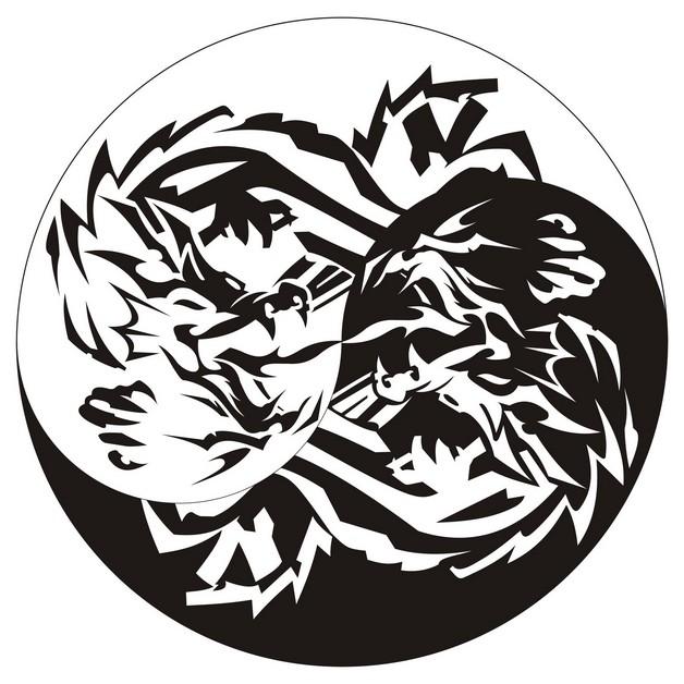 Yin Yang Tiger Dragon Tattoo Graphic