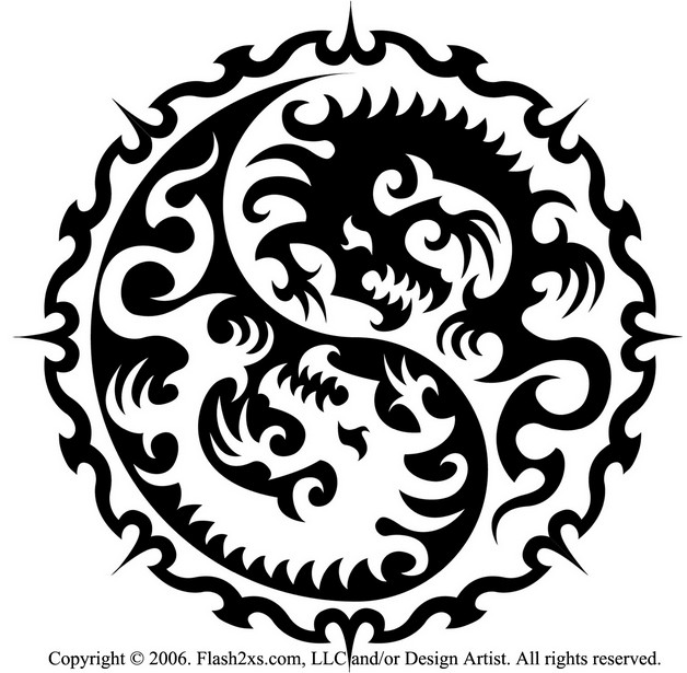 Ying Yang Dragon Tattoo Design