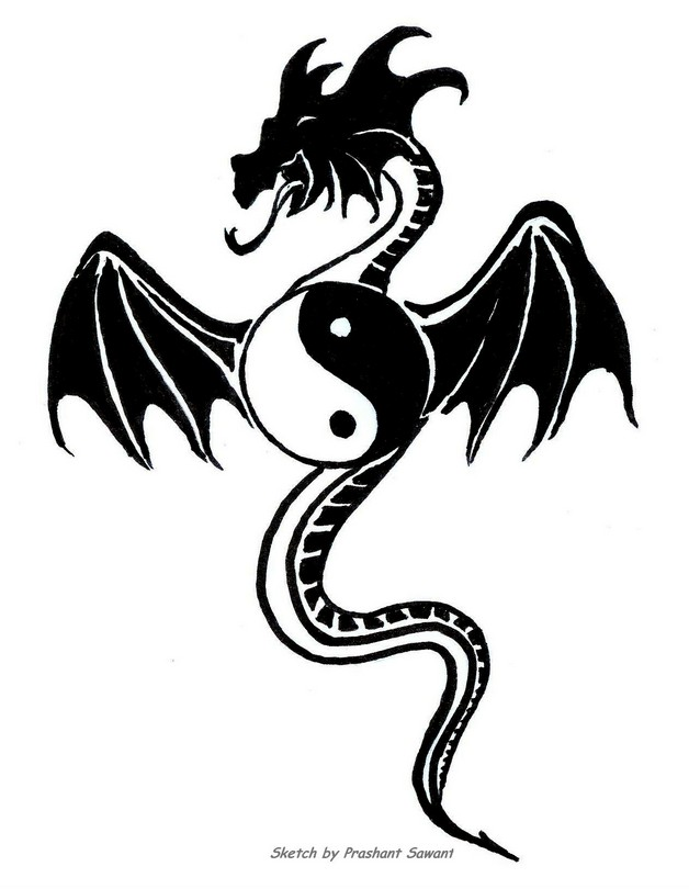 Ying yang dragon tattoo designs buycottarizona Image collections