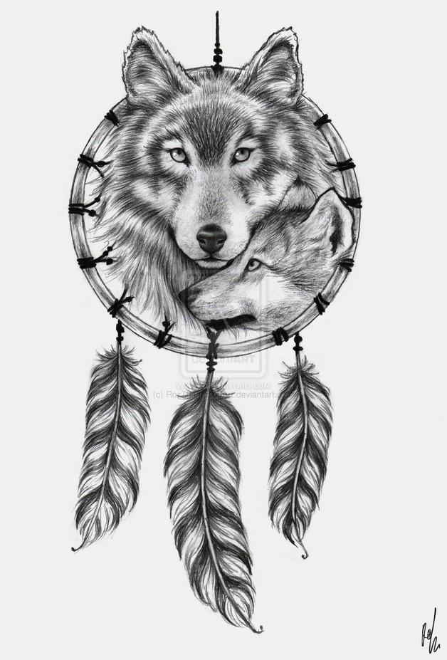 Ying Yang Wolf Tattoo Sample