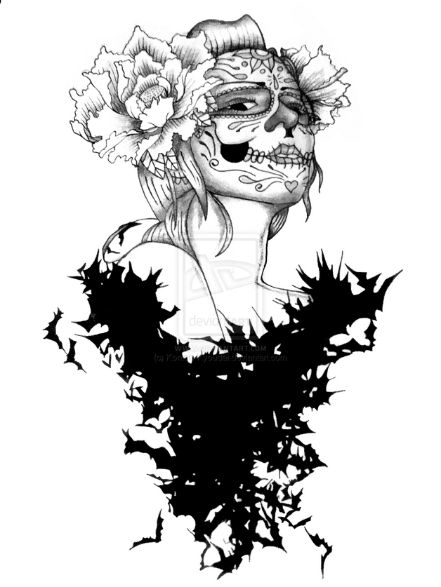 Zombie Pin Up Girl And Roses Tattoo Sketch photo - 1