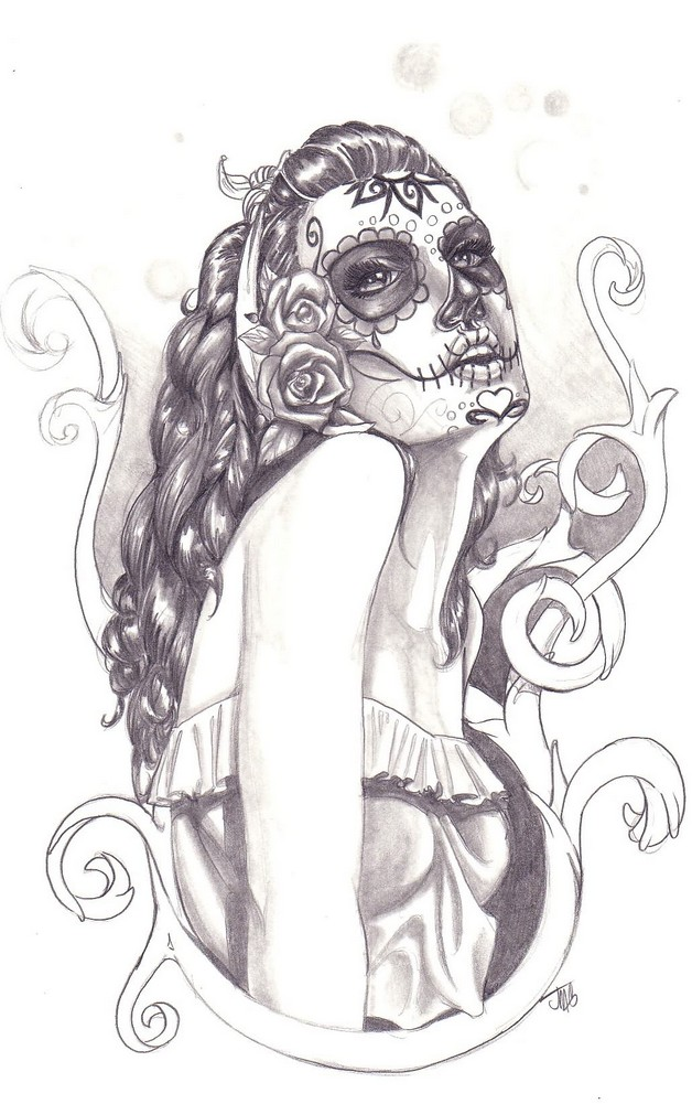 Zombie Pin Up Girl Tattoo Stencil photo - 1