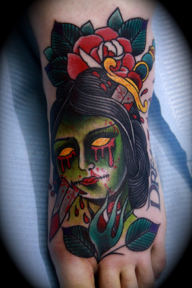 zombie pin up girl with rose tattoo design. Black Bedroom Furniture Sets. Home Design Ideas