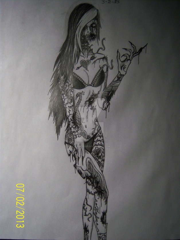 Zombies Pin Up Girl Tattoos Set photo - 1