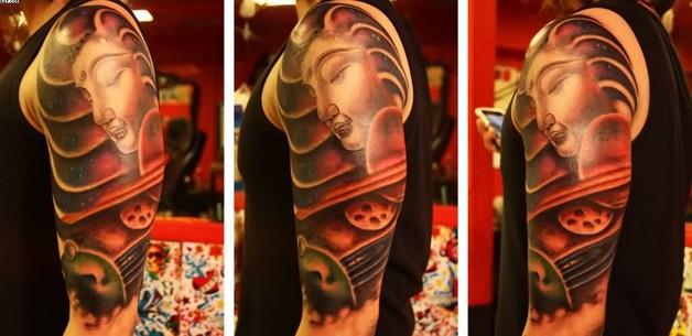 amazing half sleeve buddhist tattoo image photo - 1