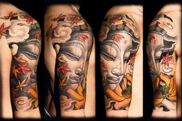 amazing half sleeve buddhist tattoo image photo - 2