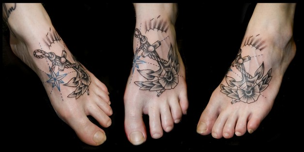 anchor star rope rose tattoo on foot photo - 1