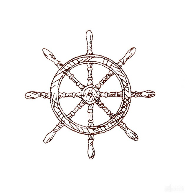 anchor symbol with ship steering wheel flowers tattoo