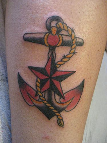 anchor tattoo with red stars photo - 1