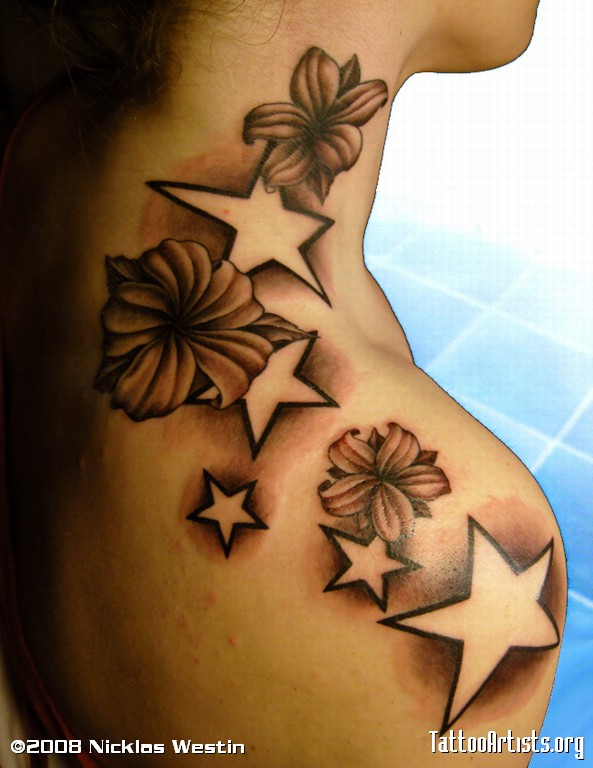 Angel with flowers stars tattoo for Star and flower tattoos