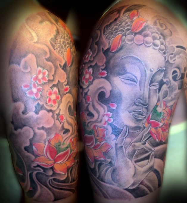 awesome half sleeve buddhist tattoo photo - 2